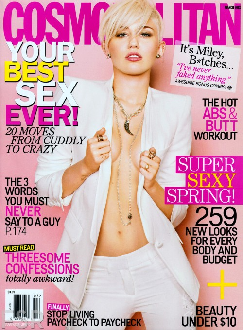 Miley Cyrus covers Cosmopolitan Magazine March 2013