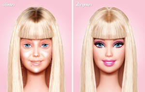 Before and After : Barbie Without Makeup