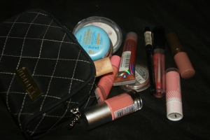 A bunch of Makeup touch up stuff, Sanitize etc
